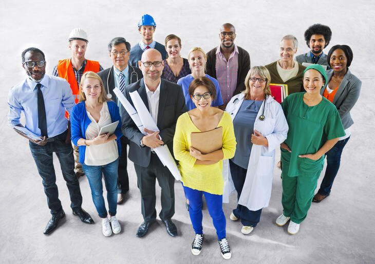 Gruppe mennesker, ulike yrker